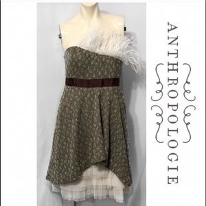 Anthropologie Modcloth Lace Bodice Feather Dress